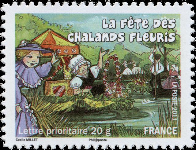 Timbre Chalands fleuris